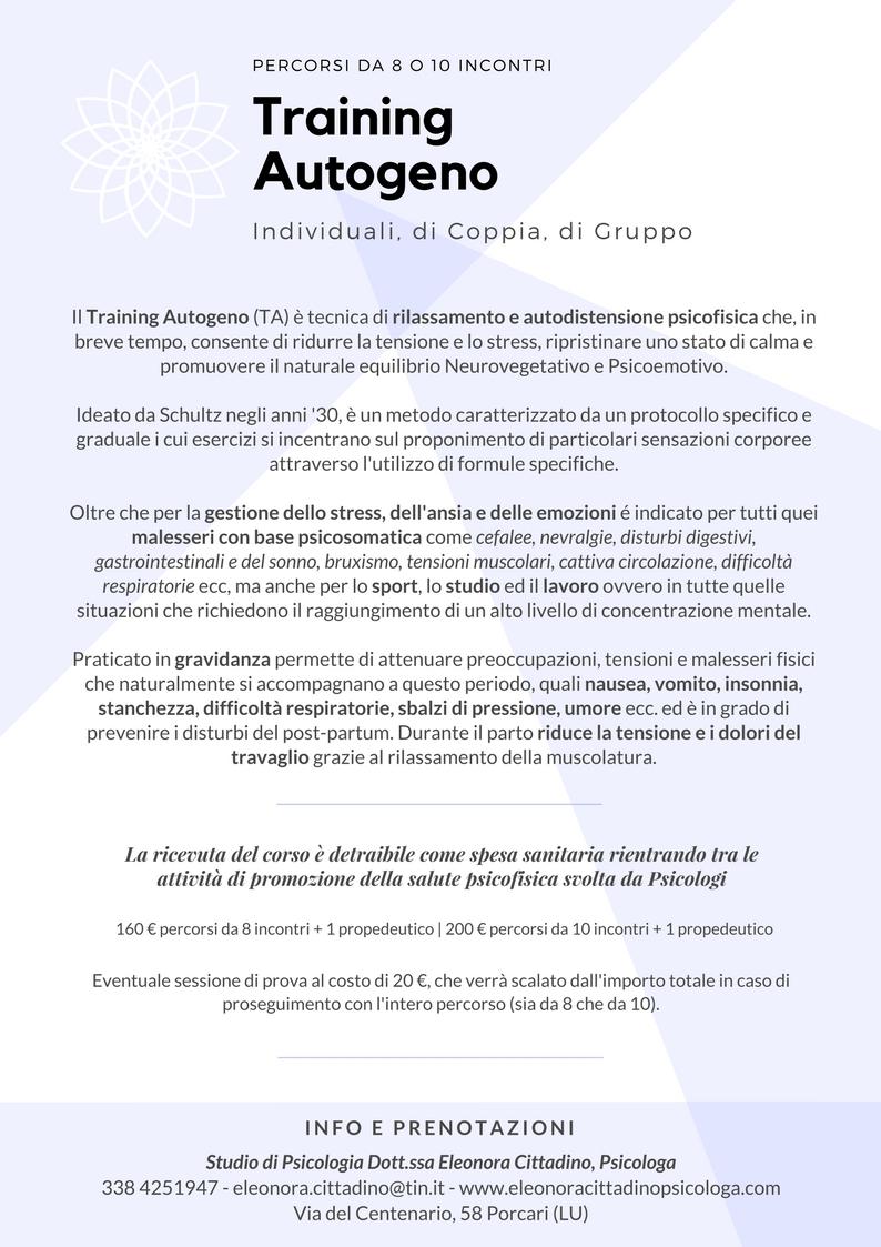 Training Autogeno eleonora cittadino psicologa porcari psicologa lucca psicologa capannori consulenza e sostegno psicologico strass ansia panico
