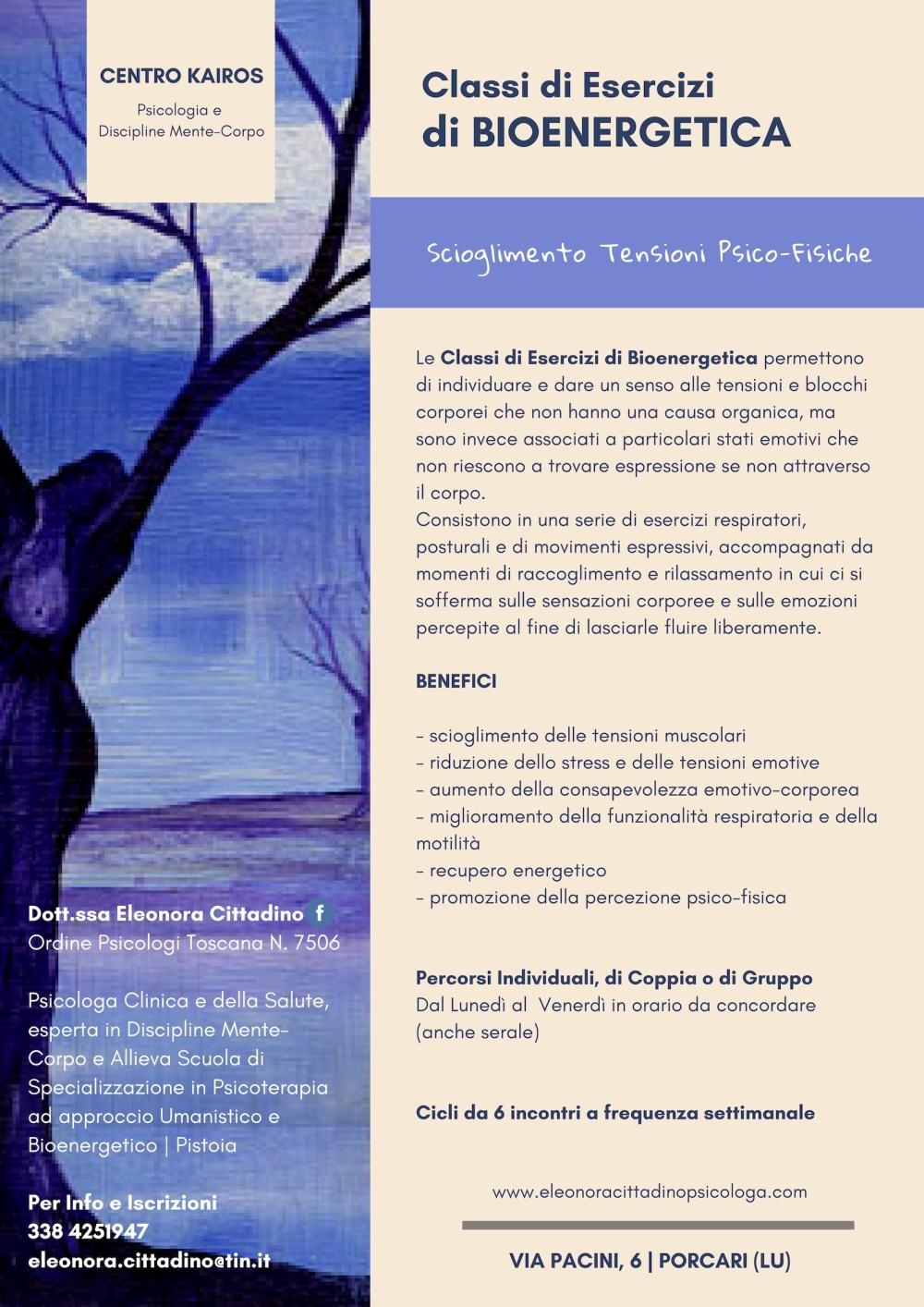 Classi di Esercizi di Bioenergetica Eleonora Cittadino Psicologa Porcari Lucca